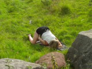 Amateur MILF sucking mature strangers in forest. Dogging