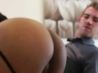 Dirty talking ebony ass fucked by huge white cock