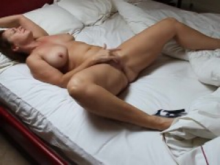 Brunette wife masturbates naked to orgasm